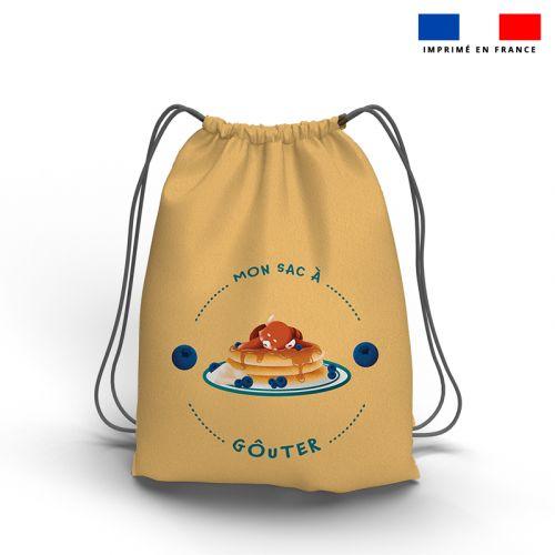Kit sac à dos coulissant motif panda roux et son goûter beige