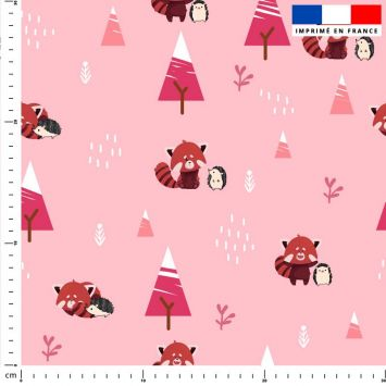 Panda roux et hérisson - Fond rose