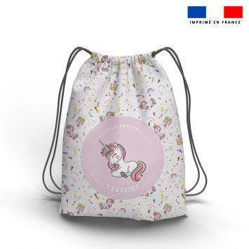 Kit sac à dos coulissant motif mes petits trésors licorne rose