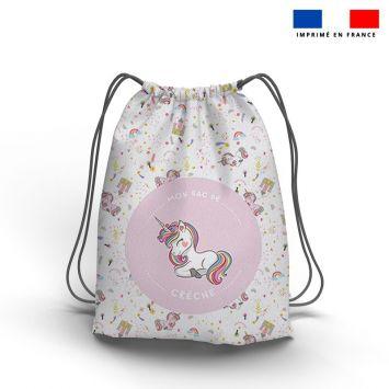 Kit sac à dos coulissant motif licorne rose