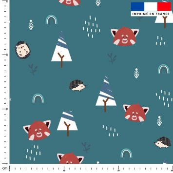 Panda roux et arc-en-ciel - Fond bleu canard