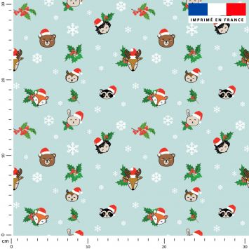 Animaux de Noel et flocons - Fond turquoise