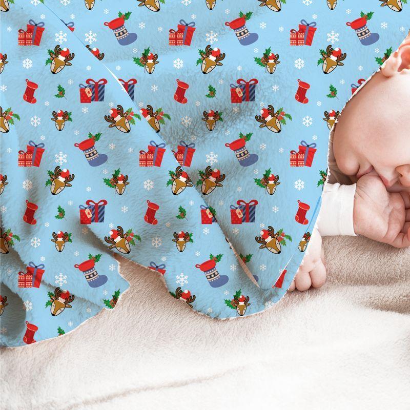 Renne et cadeaux de Noel - Fond bleu