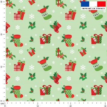 Bottes et cadeaux de Noel - Fond vert