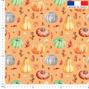 Citrouille et potiron - Fond orange clair