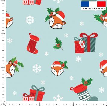 Renard et cadeaux de Noel - Fond turquoise