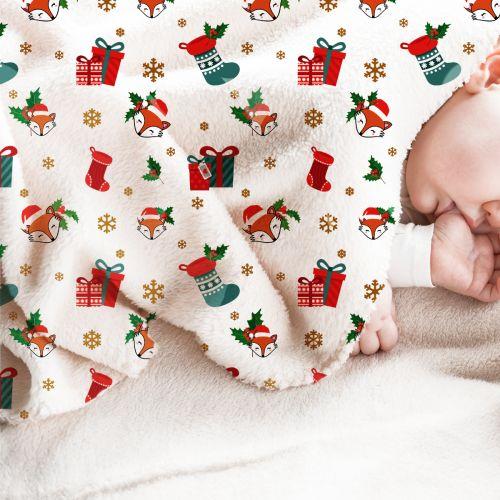Polaire blanche motif renard et cadeaux de Noel
