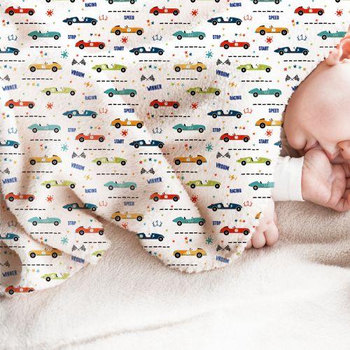 Polaire blanche motif course de voitures