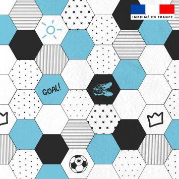 Polaire blanche motif ballon et football
