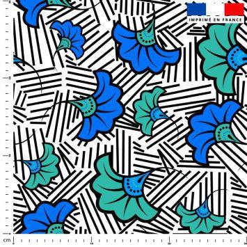 Fleur de mariage bleue et verte wax - Fond blanc et traits noirs