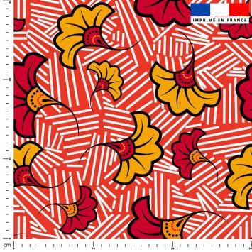 Fleur de mariage rouge et ocre wax - Fond rouge et traits blancs