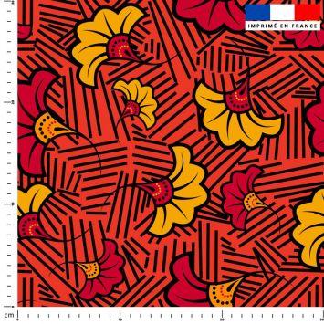 Fleur de mariage rouge et ocre wax - Fond rouge et traits noirs
