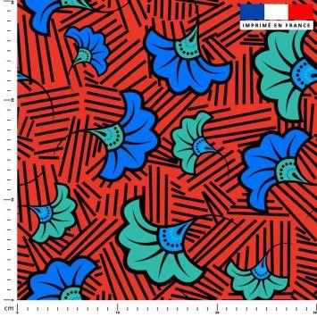 Fleur de mariage bleue et verte wax - Fond rouge et traits noirs