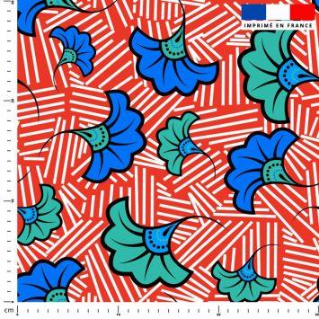 Fleur de mariage bleue et verte wax - Fond rouge et traits blancs
