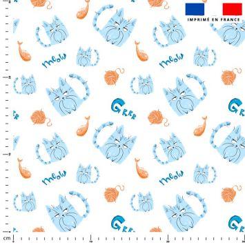 Chat bleu pelote - Fond blanc