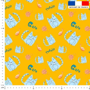 Chat bleu pelote - Fond ocre