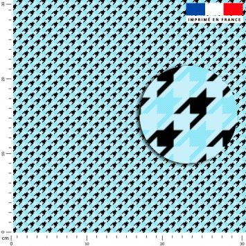 Pied de poule bleu clair - Fond noir