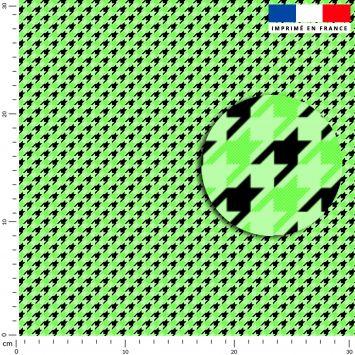 Pied de poule vert clair - Fond noir