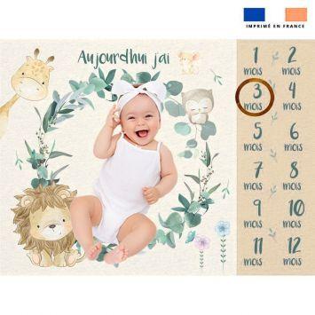 Coupon 100x75 cm pour couverture mensuelle bébé motif savane