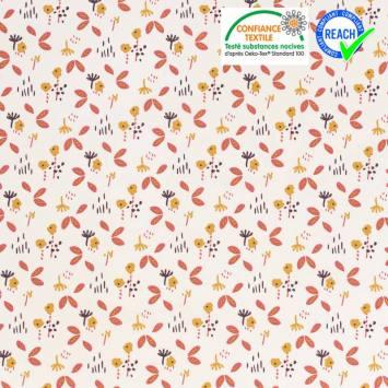 coupon - Coupon 62cm - Coton blanc motif fuzy rose et ocre Oeko-tex