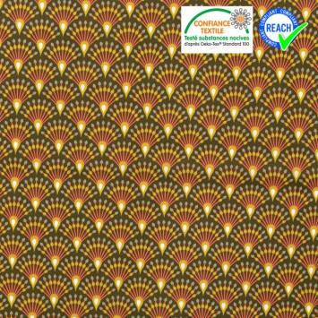 coupon - Coupon 65cm - Coton kaki motif éventail moutarde ginza Oeko-tex