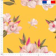 Fleur japonaise - Fond jaune