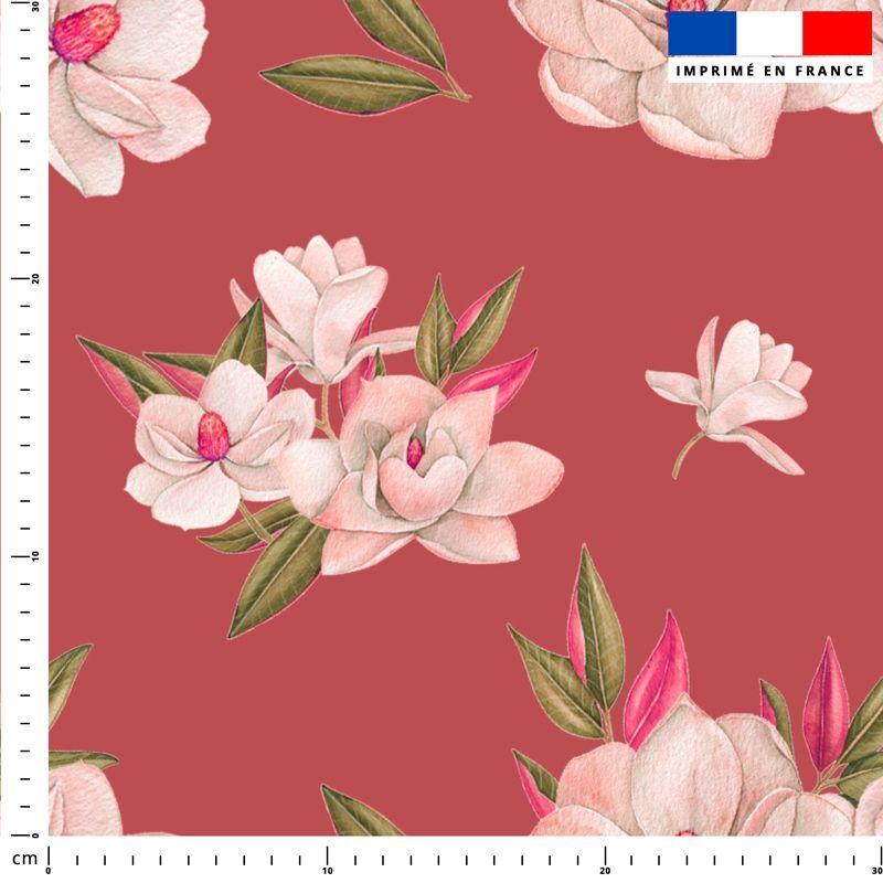 Fleur japonaise - Fond rouge terracotta