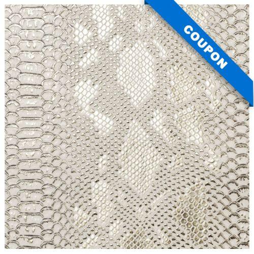 Coupon 50x68cm - Simili cuir dragon blanc et or