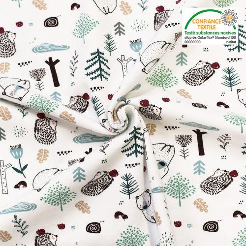 Jersey blanc imprimé animaux de la forêt Oeko-tex