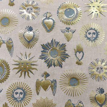 Toile polycoton chinée naturelle imprimée soleil doré