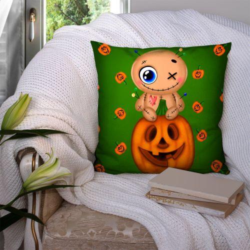 Coupon 45x45 cm motif citrouille et poupée vaudou - Création Créasan'