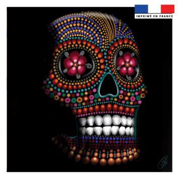 Coupon 45x45 cm motif portrait crâne - Création Créasan'