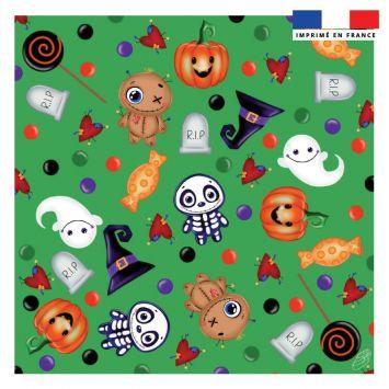 Coupon 45x45 cm motif halloween vert - Création Créasan'