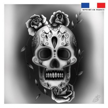 Coupon 45x45 cm motif calavera black and white - Création Créasan'