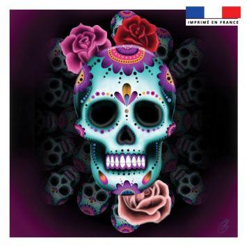 Coupon 45x45 cm motif calavera rose - Création Créasan'