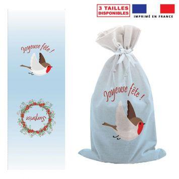 Kit hotte de Noel bleu motif Surprise