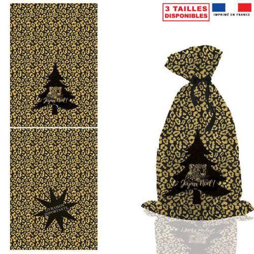 Kit hotte de Noel noir motif léopard gold