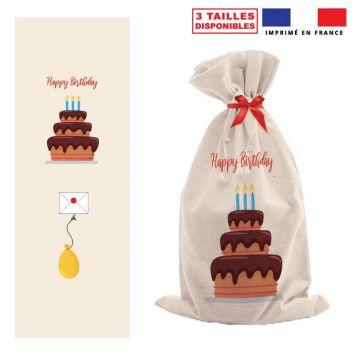 Kit hotte d'anniversaire beige motif Happy Birthday