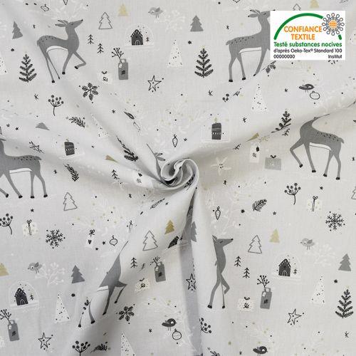 Coton gris motif rennes de Noël carybooh Oeko-tex