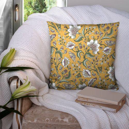 Coton curcuma motif fleurs raipur Oeko-tex