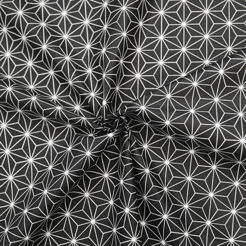 Coton enduit noir motif asanoha casual