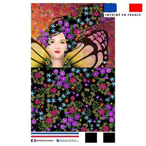Kit pochette motif diva papillons et fleurs - Création Lita Blanc