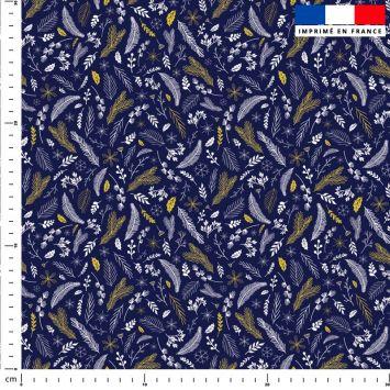 Feuilles d'or Noel - Fond bleu