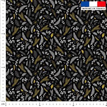 Feuilles d'or Noel - Fond noir