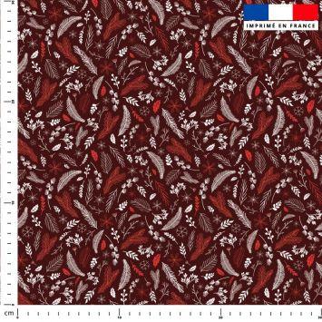 Feuilles rouge Noel - Fond rouge