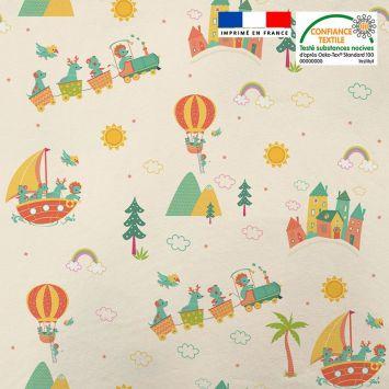 Tissu minky beige motif animaux en vacances Oeko-tex
