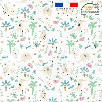 Tissu minky blanc motif savane et crocodile vert d'eau Oeko-tex