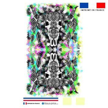 Kit pochette multicolore motif crâne de buffle - Création Créasan'