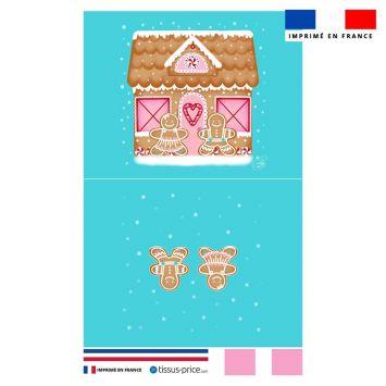 Kit pochette bleu motif maison en pain d'épices - Création Créasan'