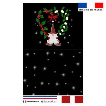 Kit pochette noir motif lutin de Noel - Création Créasan'